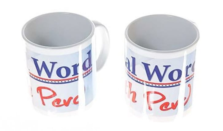 """The Final Word with Perd"" mugs, featured on the NBC TV show ""Parks and Recreation"" and on sale in a new themed auction hosted by auction house ScreenBid."