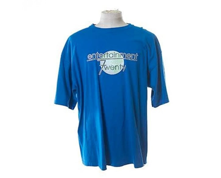 "An Entertainment 720-branded T-shirt, featured on the NBC show ""Parks and Recreation"" and on sale in a new auction hosted by auction house ScreenBid."