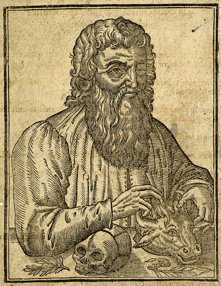Line engraving of Hippocrates