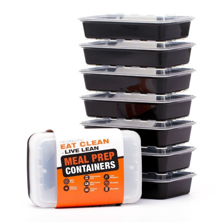 A set of LIFT meal prep containers are stacked vertically