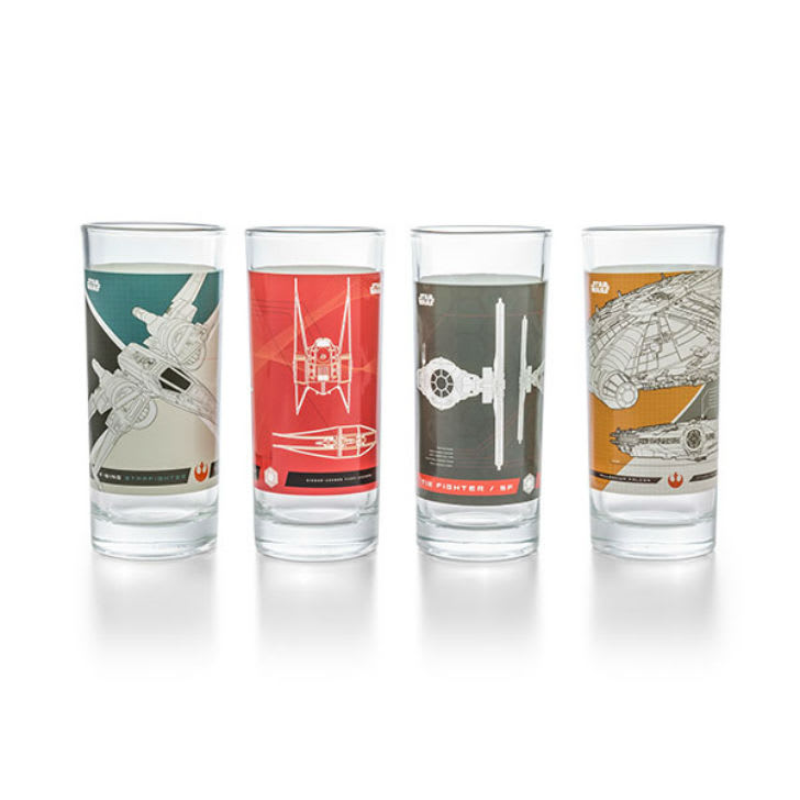 A set of four Star Wars ship glasses