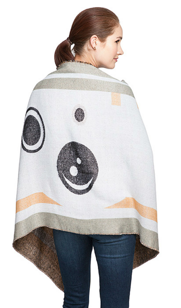 A model sports a Star Wars BB-8 blanket scarf