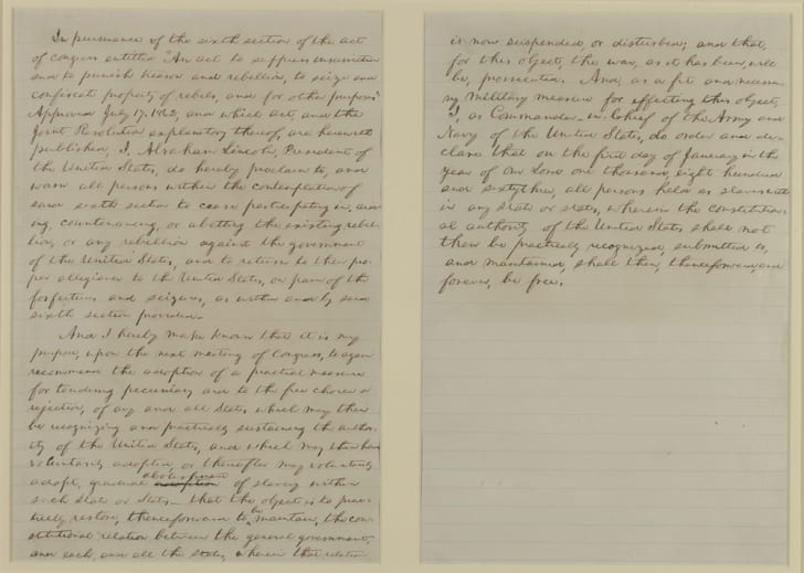 A preliminary draft of the Emancipation Proclamation