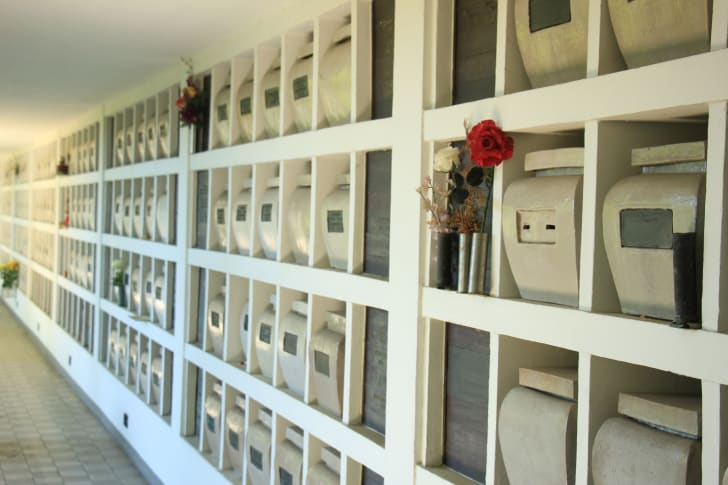 Wall of cremation urns