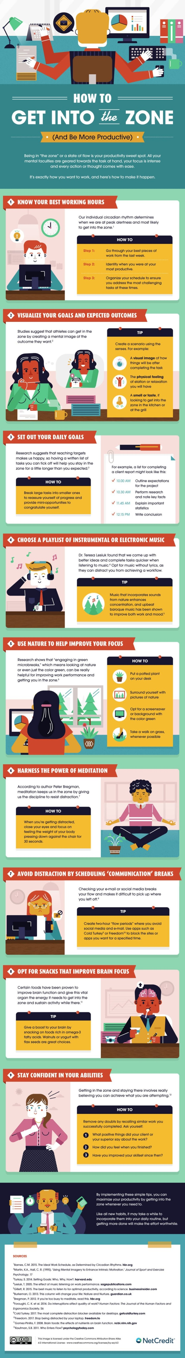 An infographic from NetCredit listing nine tips to get in the zone at work.