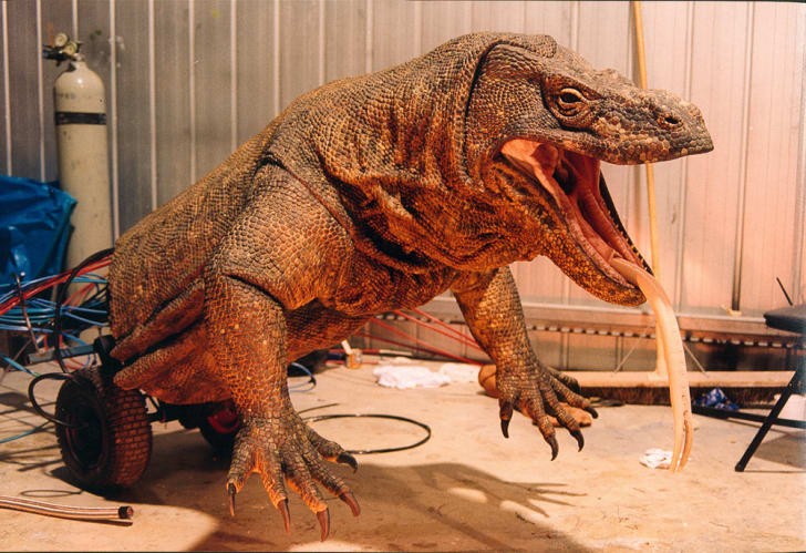 "A ""wheelbarrow"" version of one of the giant lizards made by John Cox Creature Workshop for the 1999 film Komodo"
