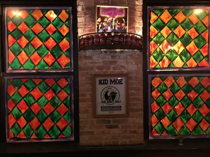 Decorations and details in the Moe's Tavern-themed pop-up bar at REPLAY Lincoln Park in Chicago