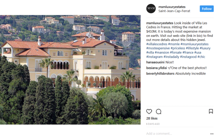 An Instagram post featuring Villa les Cedres
