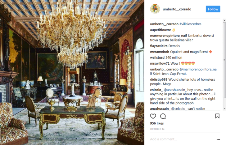 An Instagram post featuring a Villa les Cedres sitting room