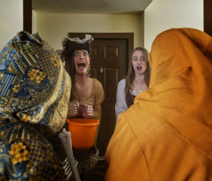 Homeowners are scared by trick-or-treaters on Halloween
