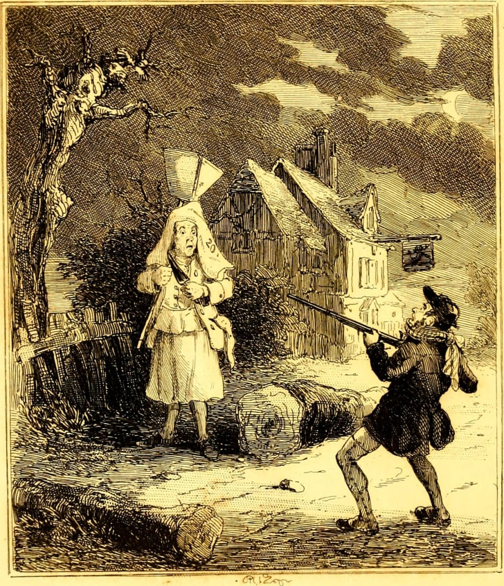 A depiction of Francis Smith hunting the Hammersmith ghost in 'The Newgate Calendar.'