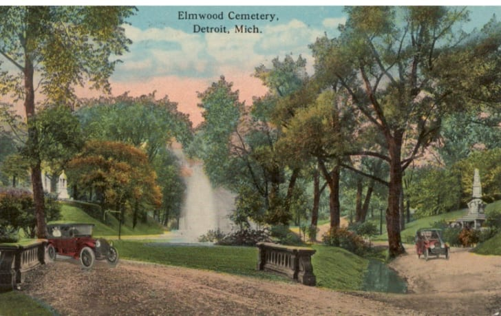 A vintage postcard from Elmwood cemetery