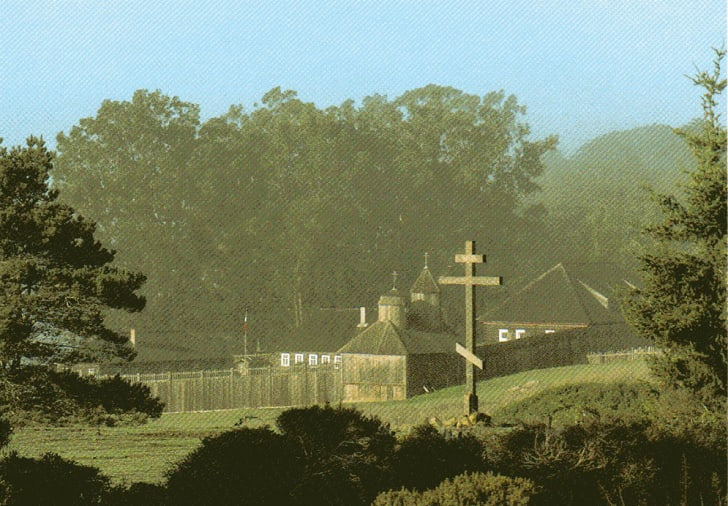 A vintage postcard from Fort Ross cemetery