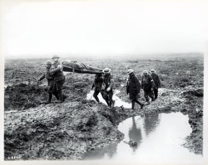 Wounded Canadians on way to aid-post during the Battle of Passchendaele