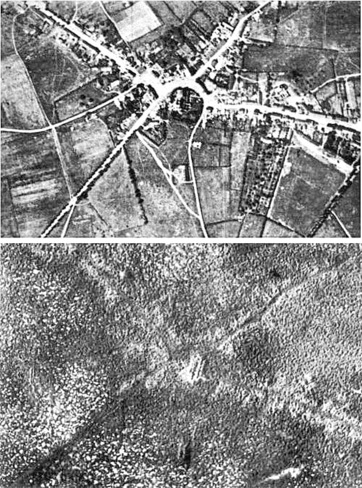 Aerial view of the village of Passchendaele (north is to the right of the photo) before and after the Third Battle of Ypres, 1917