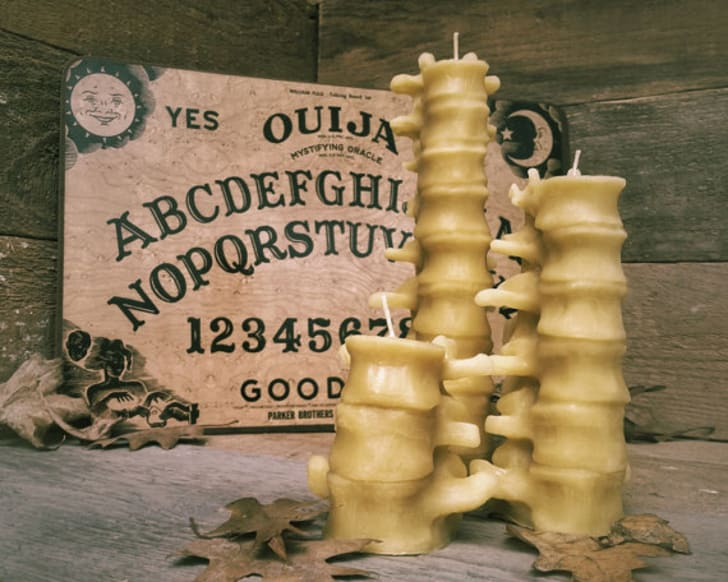 Beeswax human spine candles, set of three, by Grave Digger Candles