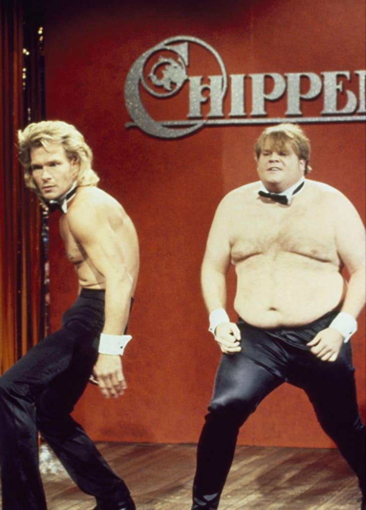 Patrick Swayze and Chris Farley in 'Saturday Night Live'