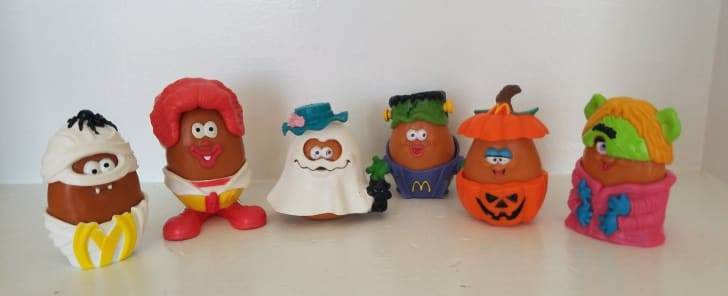A set of McNugget buddies in Halloween costumes.