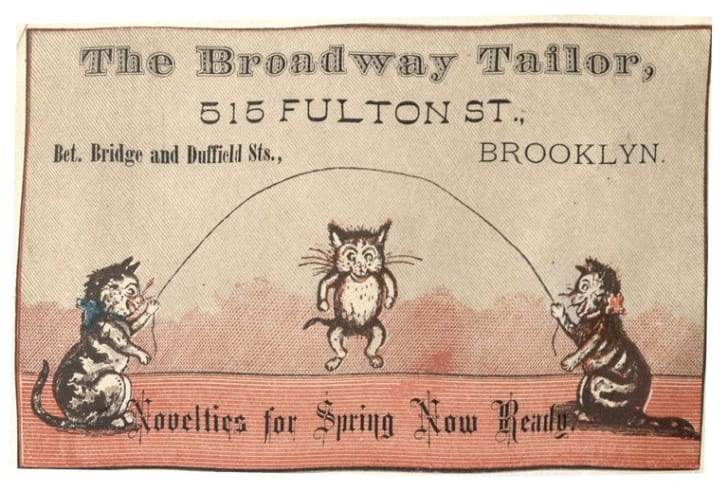 Trade card for the Broadway Tailor featuring three cats playing jump rope