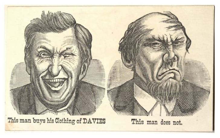Illustration of two men with different facial expressions, one smiling and one not.