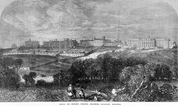 "An 1867 illustration of the ""Asylum for Criminal Lunatics, Broadmoor."""
