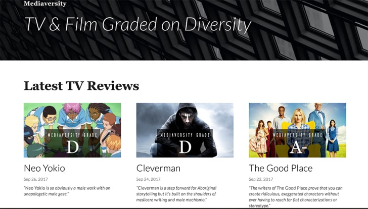 Mediaversity's homepage shows recent television reviews.