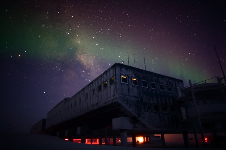 The Milky Way and aurora australis over the South Pole