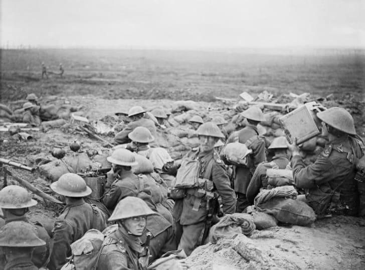 Men of the 13th Battalion, Durham Light Infantry, in trenches just prior to their attack towards Veldhoek during the Battle of Menin Road