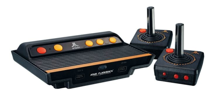 An Atari Flashback clone console with joysticks