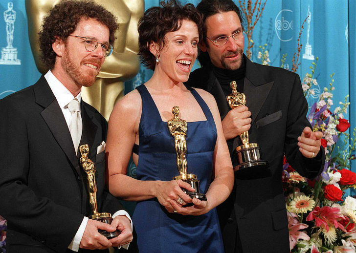 Ethan Coen, Frances McDormand and Joel Coen at the Oscars
