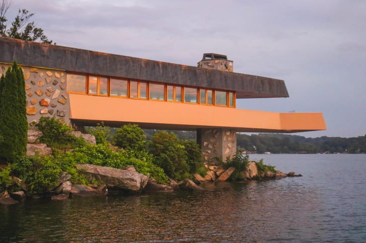 Exterior shot of a home on Petra Island, in New York, inspired by designs by American architect Frank Lloyd Wright.