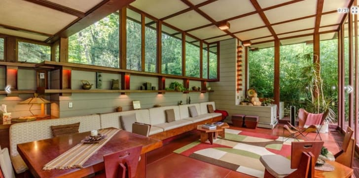 Interior shot of the Louis Penfield House by American architect Frank Lloyd Wright in Elmhurst, Illinois