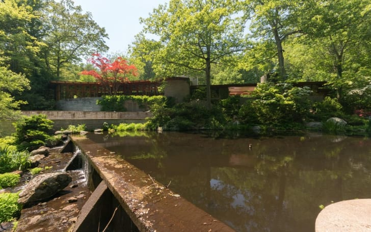 Exterior shot of Tirranna by American architect Frank Lloyd Wright in New Canaan, Connecticut.