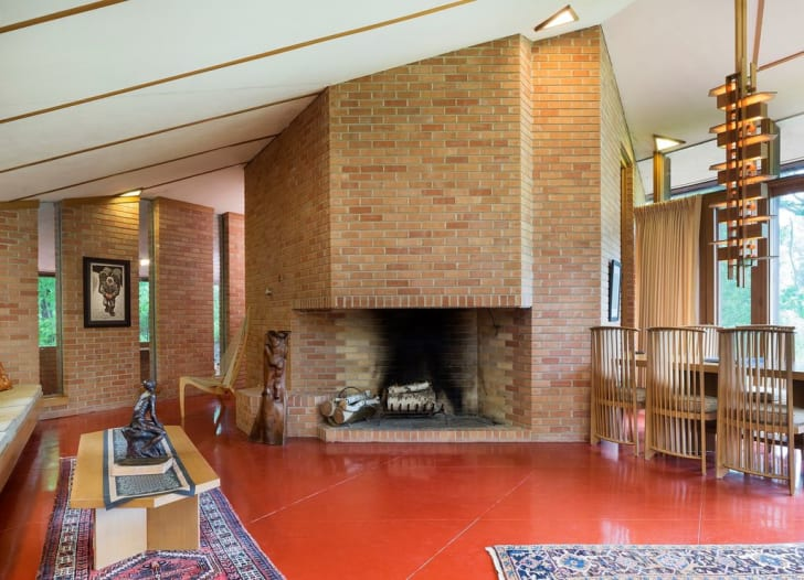 Interior shot of the Paul Olfelt House by American architect Frank Lloyd Wright in St. Louis Park, Minnesota.