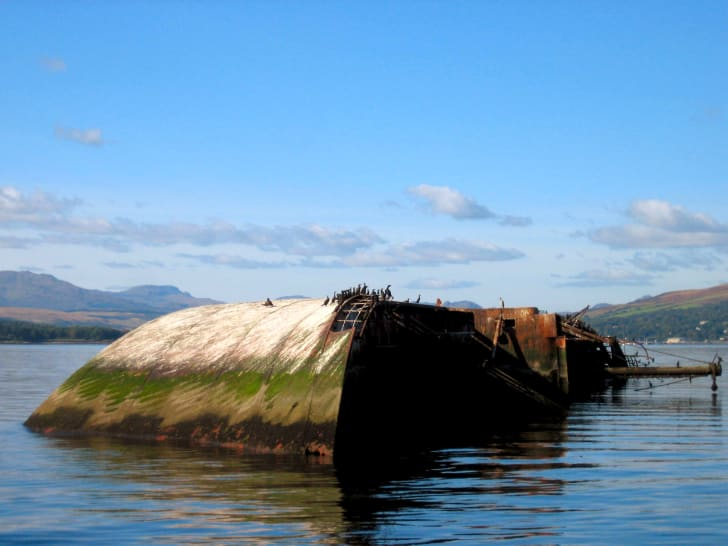Shipwreck of the Captayannis in the River Clyde, Scotland