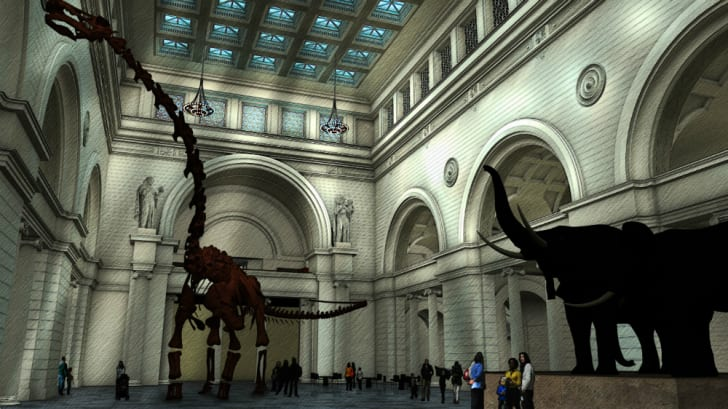 Illustration of a titanosaur cast in a great hall.