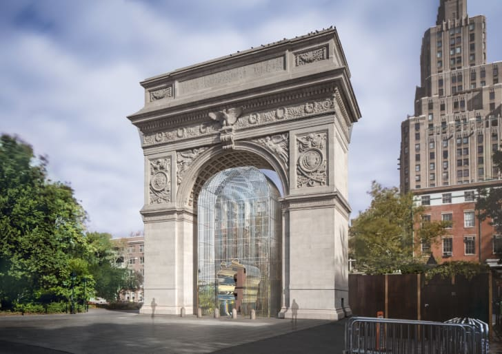 """Rendering of one piece in the multi-part Public Art Fund project """"Ai Weiwei: Good Fences Make Good Neighbors"""" at Washington Square Park."""