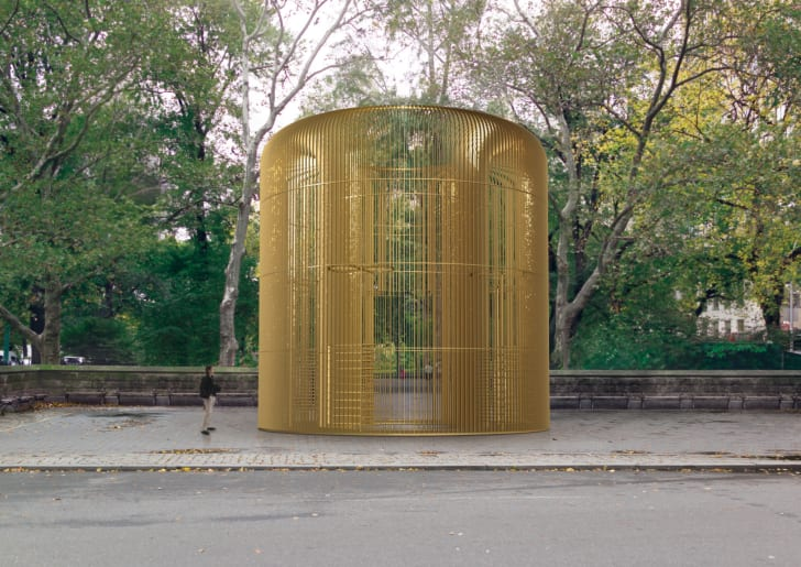 """Rendering of one piece in the multi-part Public Art Fund project """"Ai Weiwei: Good Fences Make Good Neighbors"""" at Doris C. Freedman Plaza."""