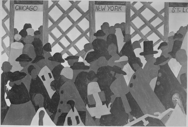 """painting titled """"During World War I there was a great migration north by southern Negroes"""""""