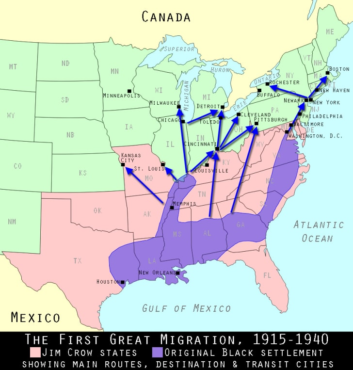 Great migration map