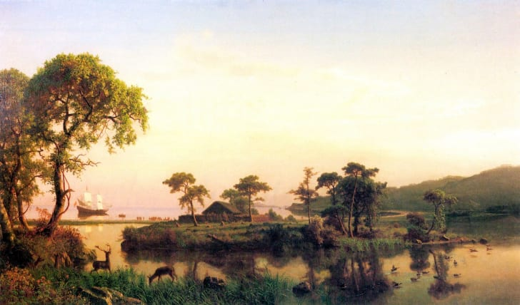 An 1858 landscape of Cuttyhunk Island by painter Albert Bierstadt