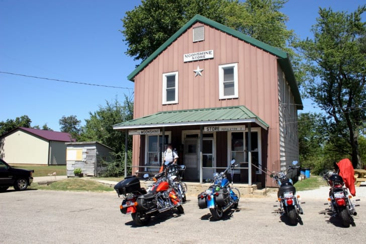 Motorcycles parked outside the Moonshine Store
