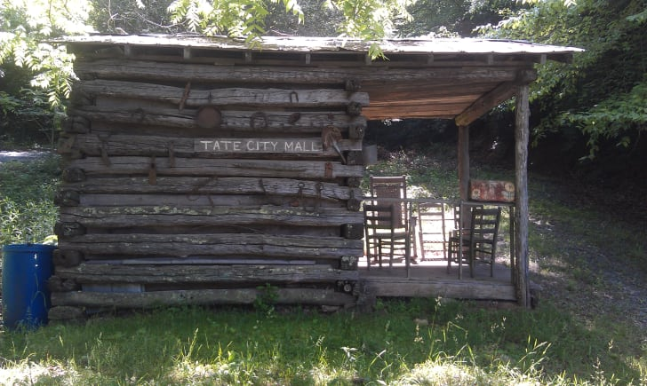 "A one-room wooden shack ironically named ""Tate City Mall"""