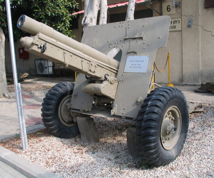 A Krupp 75 mm field gun on display at the Israeli Batey ha-Osef Museum