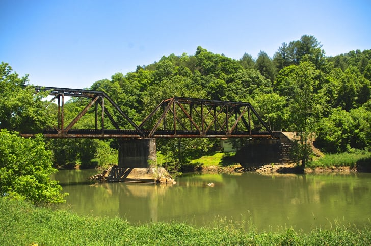 A railroad bridge over the Clinch River in Clinchport, Virgina