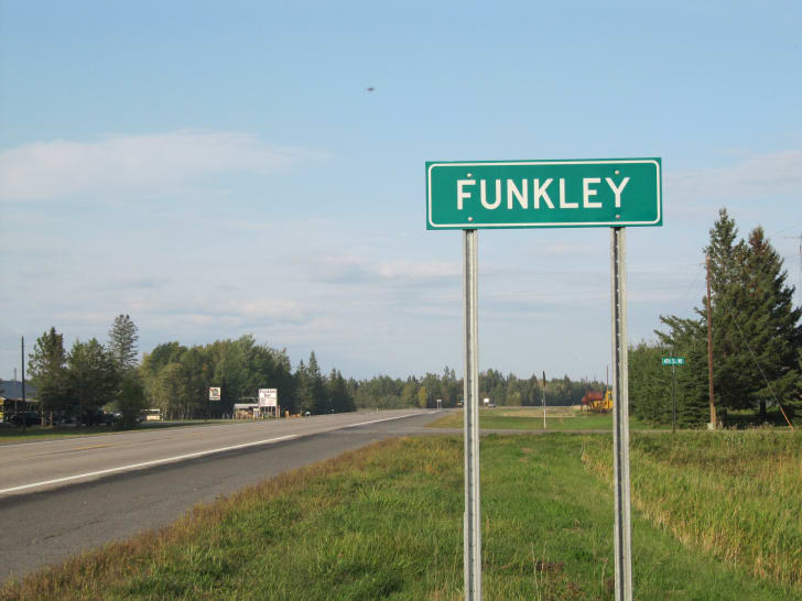Green Funkley Road Sign
