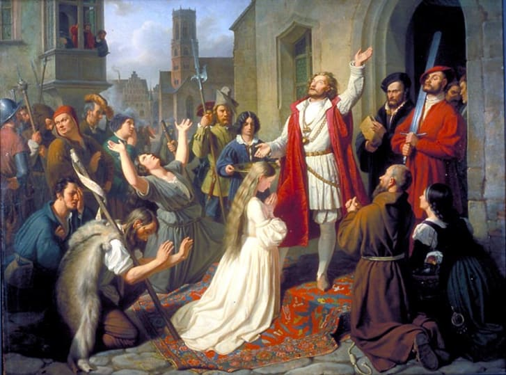 An 1840 painting of Jan of Leiden baptizing a girl