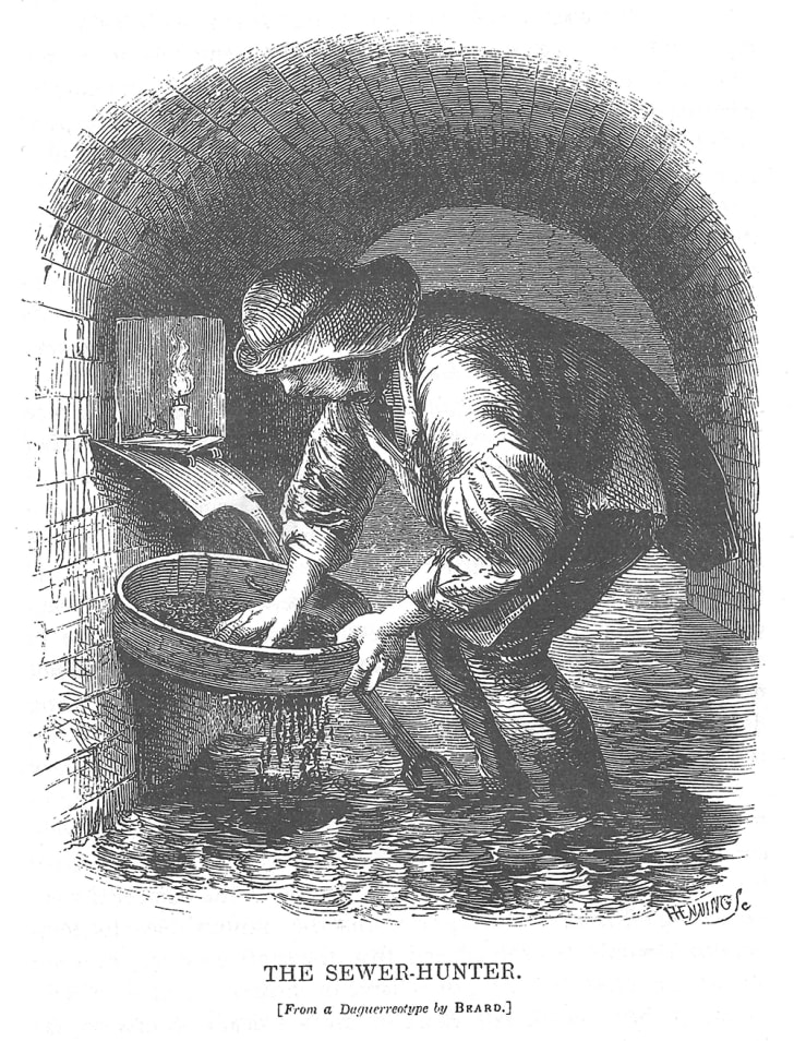 A Victorian illustration of a tosher, or sewer collector
