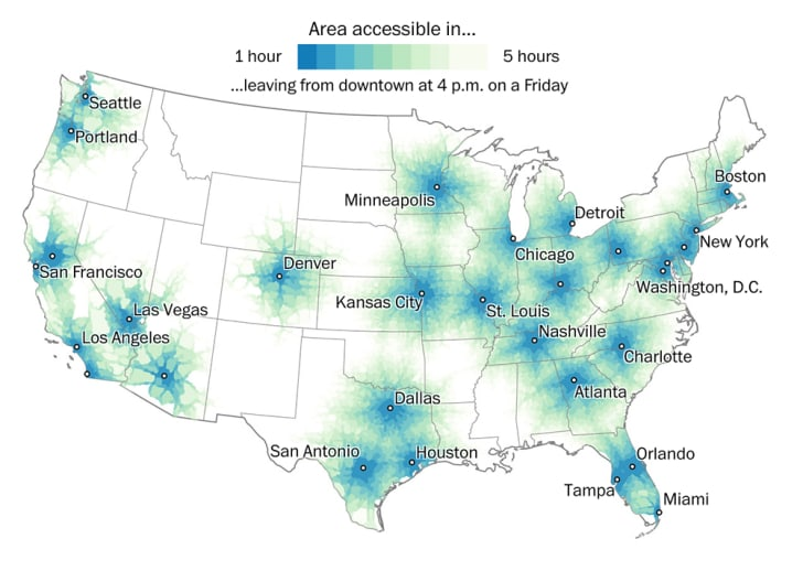 A U.S. map shows blue radii around cities illustrating a travel time of one hour in a car at 4 p.m. on a Friday.