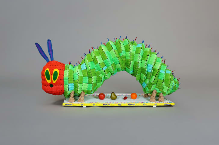 A caterpillar sculpture